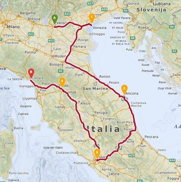 italy interrail map